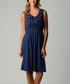 This Navy V-Neck Empire-Waist Dress - Women by Dynasty Fashions is perfect! #zulilyfinds