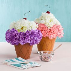 Arts and Crafts Store Ice cream floral arrangements - flower arranging - faux floral - floral decor - ice cream decor - floral crafts Ice Cream Theme, Ice Cream Party, 2nd Birthday Parties, Birthday Fun, Ice Cream Flower, Ice Cream Decorations, Ice Cream Social, Party Centerpieces, Summer Crafts