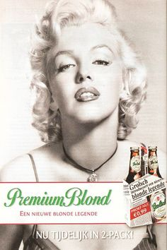 1950s: Marilyn Monroe magazine advert for Grolsch beer  .... #normajeane #vintagemagazine #pinup #iconic #raremagazine #magazinecover #hollywoodactress #monroe #marilyn #1950s
