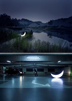 Private Moon. A lovely art installation series featuring an led illuminated moon placed in unexpected places. Magical.