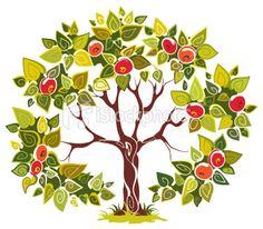 Fruitful apple tree Royalty Free Stock Vector Art Illustration