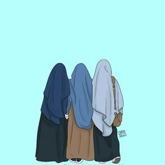 Friend Cartoon, Girl Cartoon, Cartoon Art, Muslim Pictures, Islamic Pictures, Hijab Drawing, Islamic Cartoon, Anime Muslim, Hijab Cartoon