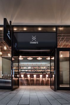 bar, lifestyle, interior design, industrial floor, cooper, rustic leather, couch, chairs, ceiling installation, entrance, façade, Bar Eduard's by DIA – Dittel Architekten
