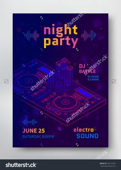 Night Party Poster Template. Electro Sound Flyer With Dj Consol. Vector…