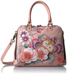 Anna by Anuschka Women's Genuine Leather Large Wide Zip Handbag | Hand Painted Original Artwork * You can find more details by visiting the image link. (This is an affiliate link) Mk Handbags, Cheap Handbags, Fashion Handbags, Designer Handbags, Sexy Lingerie, Bags For Teens, Cow Leather, Leather Totes, Leather Bags