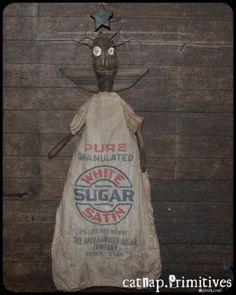 oh so sweet primitive angel doll ~ sugar sack dress ~ catnap*primitives