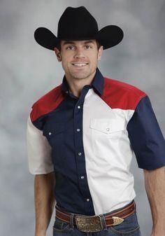 Roper® Mens Red, White & Blue Colorblocked Short Sleeve Snap Cowboy Shirt