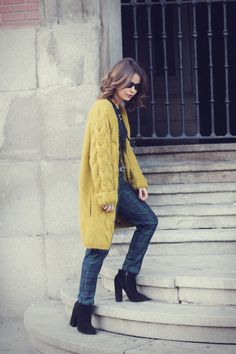 Retro 70s mustard sweater jacket