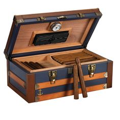 "www.cigarbundlesofmiami.com - ""Admiral"" 120 Cigar Blue Trunk Style Humidor, Leather, Solid wood Exterior, $275.00 (http://www.cigarbundlesofmiami.com/admiral-120-cigar-blue-trunk-style-humidor-leather-solid-wood-exterior/)"