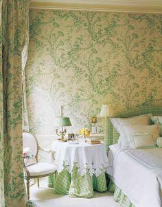 Scalamandre Pillement toile linen drapery and wallpaper Interior design by Allesandra Branca