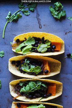 EASY Butternut Squash & Black Bean Tacos | the blissful balance