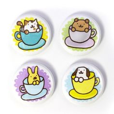Teacup Buddies Button Set by sugarcookie on Etsy