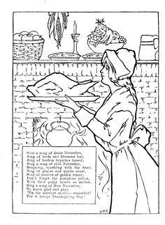 Come Ye Thankful People Come, colouring page, poem, hymns, more; http://thecommonroomblog.com/2014/11/vintage-thanksgiving-colouring-page-1912.html