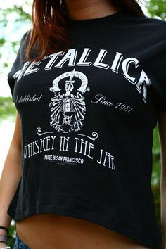 Grungy Metallica 90s Vintage Black Crop Top by GitchiGamiClothing
