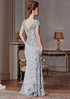 Últimos productos 2014 de lujo elegante gris Appliqued gasa de la sirena madre de la novia viste largo vestidos de noche