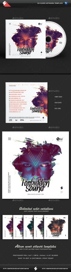Forbidden Sound  CD Cover Artwork Template — Photoshop PSD #music #techno • Available here → https://graphicriver.net/item/forbidden-sound-cd-cover-artwork-template/15597046?ref=pxcr