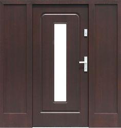 Drzwi zewnętrzne ze stałymi dostawkami doświetlami bocznymi model 572s3 w kolorze ciemny orzech