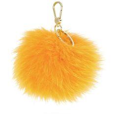 Furla Bubble Fur Pom Pom Key Ring ($98) ❤ liked on Polyvore featuring bags, accessories, yellow, furla purses, furla, yellow handbag, furla shoulder bag and fur handbags