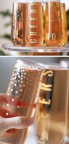 Festive Gold Holiday Flutes | Click Pic for 22 DIY Glass Craft Ideas for the Home | Easy Crafts to Make and Sell