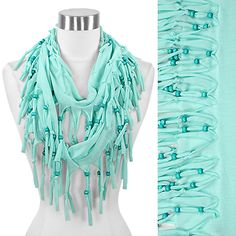 Beaded Fringe Jersey Infinity Scarf #Wholesale24x7  Meet more Spring Scarves at www.wholesale24x7.com