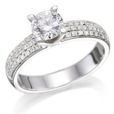 Diamant Ring 1.87 Ct W J/SI1 Round 18 Karat (750) Weißgold (Ringgröße 48-63)   Your #1 Source for Jewelry and Accessories