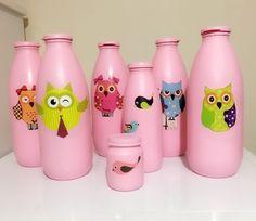 Günlük süt şişelerinin dönüşümü akrilik boya ile cam üzerine uygulama