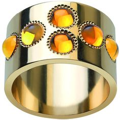 Lalique Petillante 18k Gold Amber Wide Ring (€3.845) ❤ liked on Polyvore featuring jewelry, rings, 18k yellow gold ring, wide-band rings, gold jewellery, amber jewelry and amber ring
