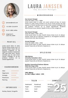 CV sjabloon in Word. 2 kleurenversies in 1 pakket, inclusief volgpagina…