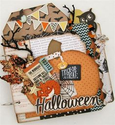 Shop our unique selection of scrapbook mini albums, scrapbook layouts, handmade cards, paper and wood decor craft kits. Precut and easy to assemble scrapbooking kits. Visit our gallery for the latest scrapbooking layout and mini album ideas. Halloween Mini Albums, Halloween Shadow Box, Halloween Scrapbook, Halloween Tags, Halloween Ideas, Mini Scrapbook Albums, Scrapbook Paper Crafts, Scrapbooking, Scrapbook Layouts
