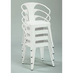White Tabouret Stacking Chairs (Set of 4) | Overstock.com  $179 for my table outside