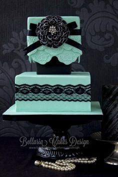 Romantic Proposal Cake ~ ring is in the box between the two cakes