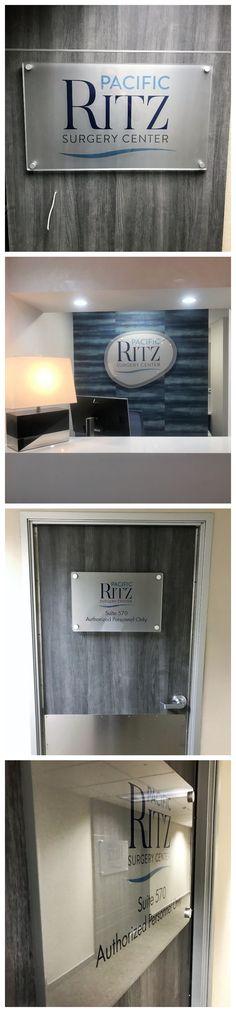 Interior Logo Signs for Pacific Ritz in Encino, CA Interior Logo, Entrance Sign, Surgery Center, Office Signs, Acrylic Panels, Logo Sign, Decoration Piece, Reception Areas, Door Signs