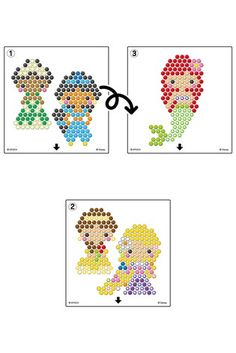 Buy Aquabeads Disney™ Princess Character Set from the Next UK online shop Pony Bead Patterns, Perler Patterns, Beading Patterns, Cross Stitch Patterns, Diy Perler Beads, Pearler Beads, Bead Crafts, Diy And Crafts, Crafts For Kids