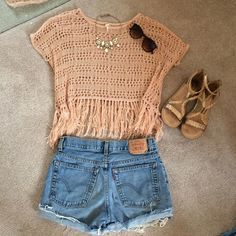 Knit Fringe Top Super cute to wear over a swim suit or over a tank top paired with shorts! Tops Blouses