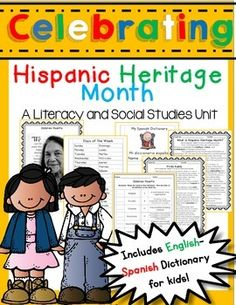 Celebrate Hispanic Heritage month with your students! The celebration runs from September through October Teach your students to celebrate diversity! Social Studies Activities, Teaching Social Studies, Teaching Activities, Teaching Ideas, Holiday Activities, 2nd Grade Reading Passages, Informational Texts, Hispanic Culture, Vocabulary Practice