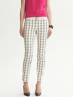 Sloan-Fit Windowpane Slim Ankle Pant  Darling in winter white.  Perfect with a pop of color up top or in the shoe.