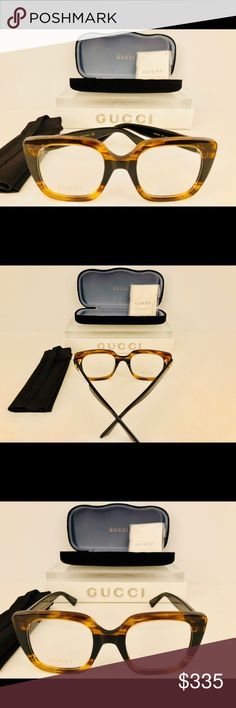 Gucci Eyeglasses Square, Havana Brown on Black 50 Brand New! 100% Authentic!  Gucci Eyeglasses Square, Havana Brown on Black   Size: 50-22-140   Demo Lens Rx-Able  Purchase Also Includes: Gucci Velvet Case, Cleaning Cloth, Silk Travel Tote Bag, Certificate of Authenticity Gucci Accessories Glasses