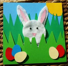 Craft magic easter project handmade easter rabbit picture easter bunny with eggs Easter Arts And Crafts, Spring Crafts For Kids, Easter Projects, Art For Kids, Art Projects, Rabbit Crafts, Bunny Crafts, Toddler Crafts, Preschool Crafts