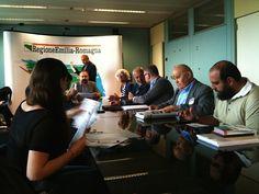 Conferenza stampa Assessore Mezzetti, Luisa Cigognetti, Alberto De Bernardi, Elisa Gardini