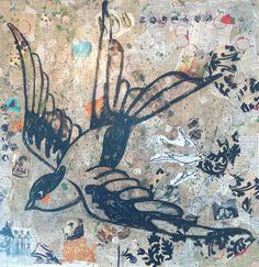 Bird art. Swallow. Mixed media Bird Collage