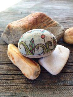 Hand Painted Rock Being  Flowers By The Sea by QueenofArtsStudio, $16.50