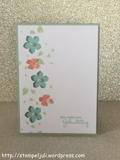 Birthday Card Perfect Paerchen Stampin 'Up Petite Petals Punch Punching pistachio teal altrose saharasand fluesterweiss Small Gift Birthday Calender, Perpetual Birthday Calendar, Pretty Cards, Cute Cards, Diy Cards, Karten Diy, Mothers Day Cards, Happy Birthday Cards, Flower Cards