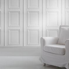 Mineheart - Eccentric British Design - White Panelling Wallpaper, £70.00 (http://www.mineheart.com/white-panelling-wallpaper/)