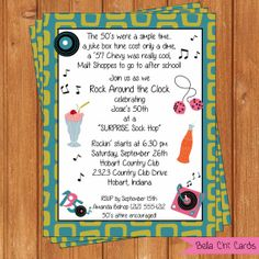 50's Theme Adult Birthday Invitations ABI100DIY  by BellaChiCards, $14.00
