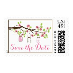Cherry blossoms & mason jars wedding Save the Date Postage