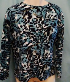Womens Plus size Top 3x Teal Black Animal Print Jones New York Cotton Knit  #JonesNewYork #Tunic #Casual
