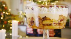 This Christmas trifle recipe by Mary Berry is featured in the Season 3 Masterclass: Christmas episode of the Great British Baking Show.