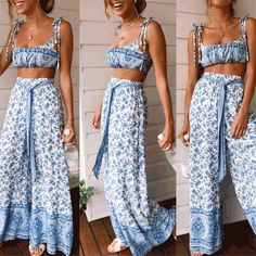 Sollinarry Casual Summer Bohemian Women Jumpsuits Casual Wide Leg Female Sexy Jumpsuit Sets Print Beach Rompers Tops and Pants Jumpsuit Casual, Two Piece Jumpsuit, Sleeveless Crop Top, Wide Leg Trousers, Suit Fashion, Boutique, Jumpsuits For Women, Like4like, Gender