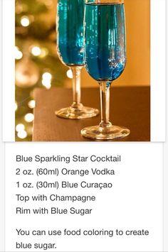 Blue Sparkling Star Cocktail  # tipsy Bartender