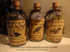 Primitive Style Halloween Witch SPELL Potion Bottle